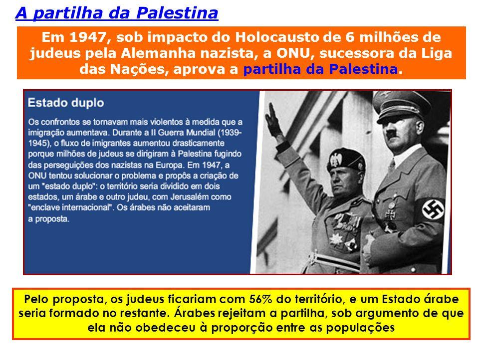 Em 1947, sob impacto do Holocausto de 6 milhões de judeus pela Alemanha nazista, a ONU, sucessora da Liga das Nações, aprova a partilha da Palestina.