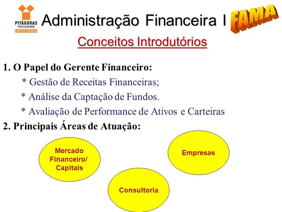 Administração Financeira I Conceitos Introdutórios Administração Financeira I Conceitos Introdutórios 1. O Papel do Gerente Financeiro: * Gestão de Re
