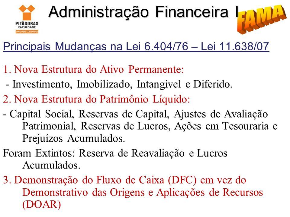 Administração Financeira I Principais Mudanças na Lei 6.404/76 – Lei 11.638/07 1. Nova Estrutura do Ativo Permanente: - Investimento, Imobilizado, Int