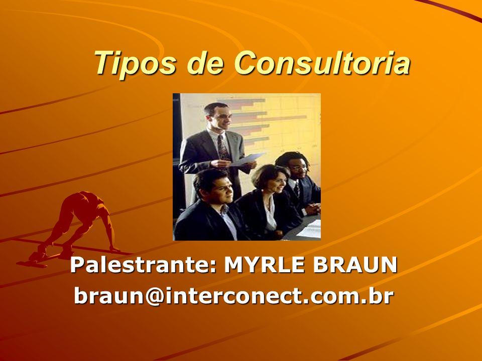 Tipos de Consultoria Palestrante: MYRLE BRAUN braun@interconect.com.br