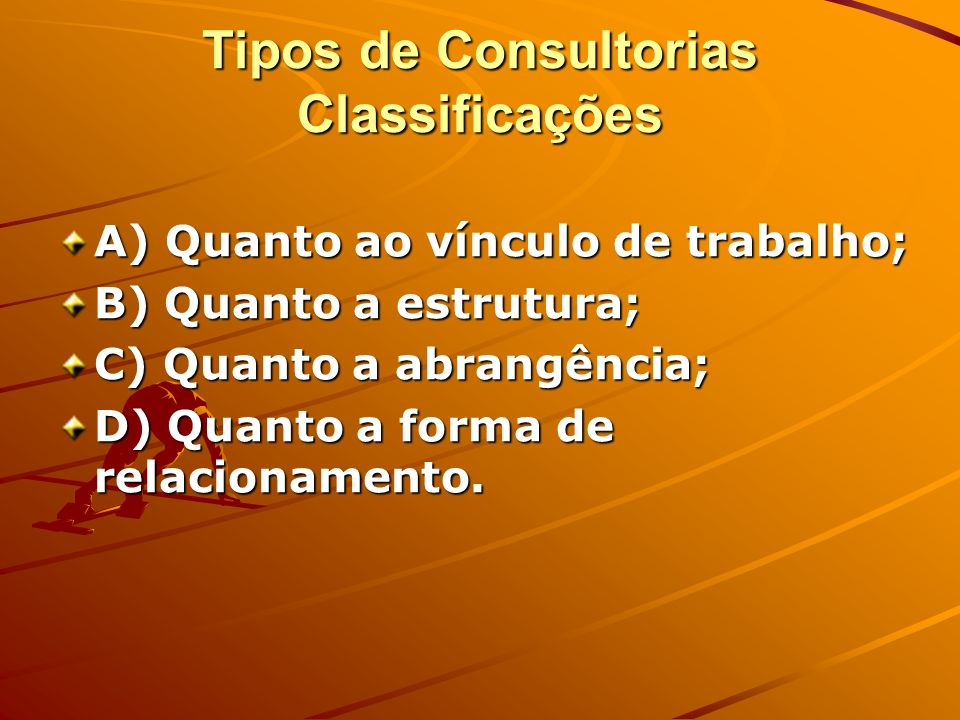 Tipos de Consultorias Classificações A) Quanto ao vínculo de trabalho; B) Quanto a estrutura; C) Quanto a abrangência; D) Quanto a forma de relacionam