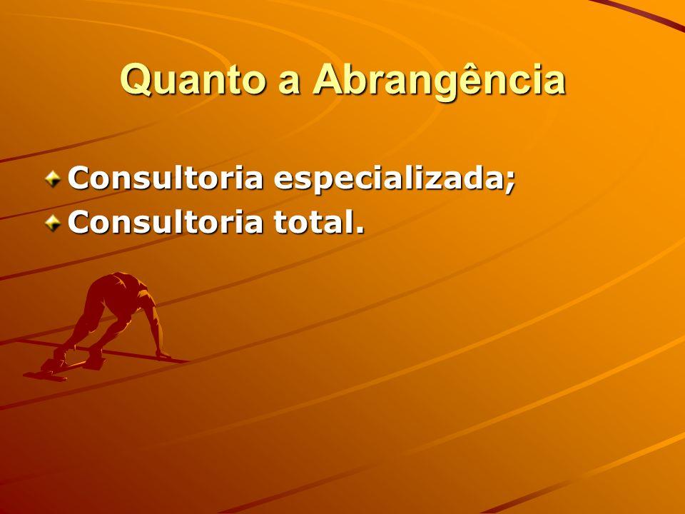Quanto a Abrangência Consultoria especializada; Consultoria total.