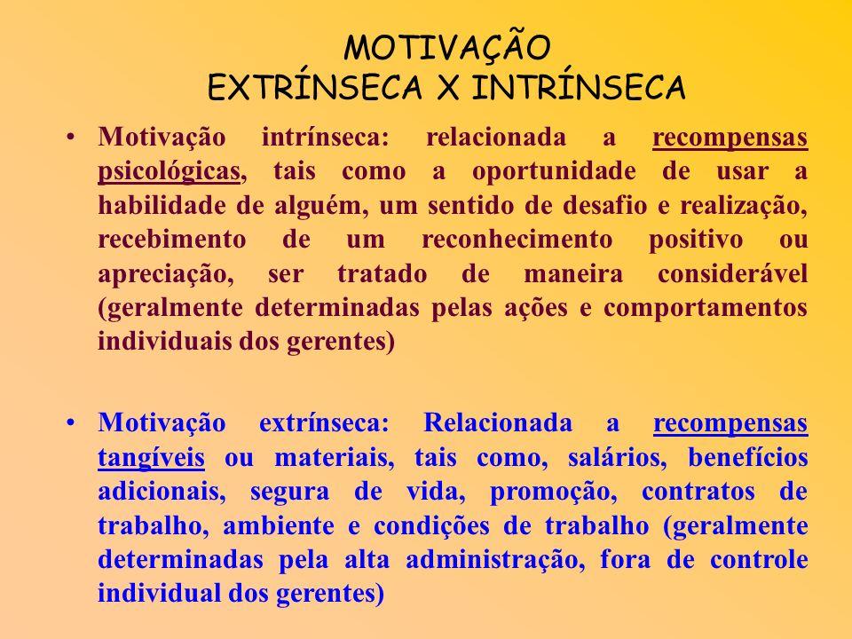 MOTIVAÇÃO EXTRÍNSECA X INTRÍNSECA Motivação intrínseca: relacionada a recompensas psicológicas, tais como a oportunidade de usar a habilidade de alguém, um sentido de desafio e realização, recebimento de um reconhecimento positivo ou apreciação, ser tratado de maneira considerável (geralmente determinadas pelas ações e comportamentos individuais dos gerentes) Motivação extrínseca: Relacionada a recompensas tangíveis ou materiais, tais como, salários, benefícios adicionais, segura de vida, promoção, contratos de trabalho, ambiente e condições de trabalho (geralmente determinadas pela alta administração, fora de controle individual dos gerentes)