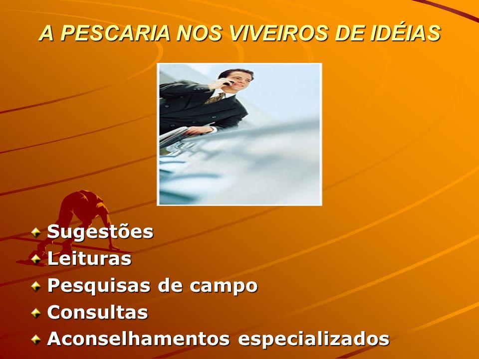 A PESCARIA NOS VIVEIROS DE IDÉIAS SugestõesLeituras Pesquisas de campo Consultas Aconselhamentos especializados