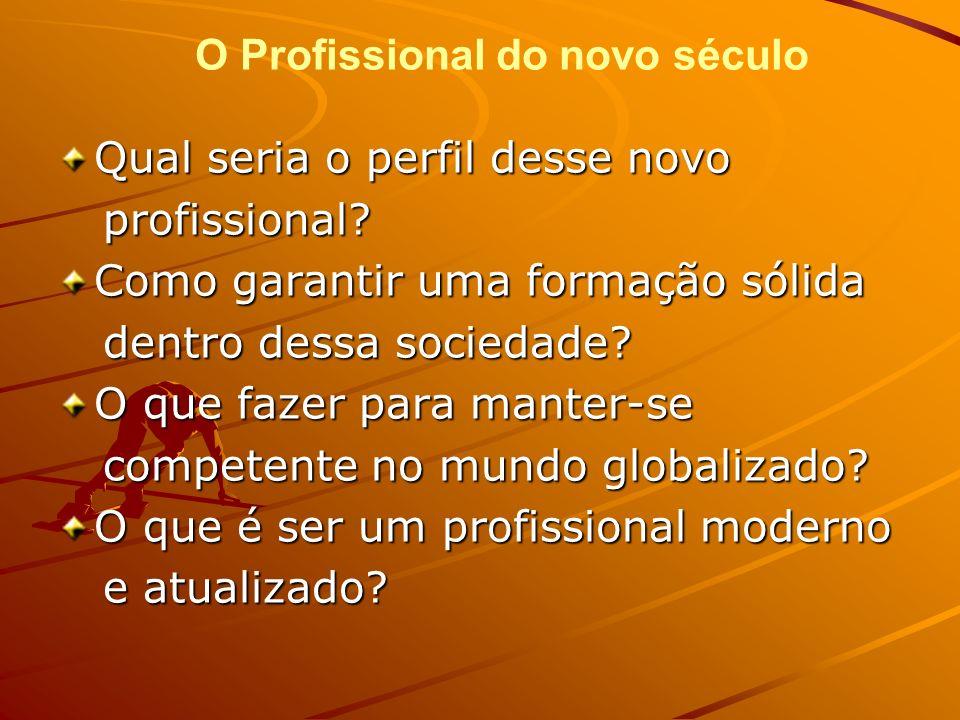 Qual seria o perfil desse novo profissional? profissional? Como garantir uma formação sólida dentro dessa sociedade? dentro dessa sociedade? O que faz