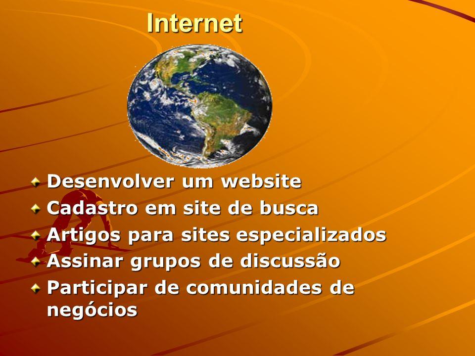 Internet Desenvolver um website Cadastro em site de busca Artigos para sites especializados Assinar grupos de discussão Participar de comunidades de n