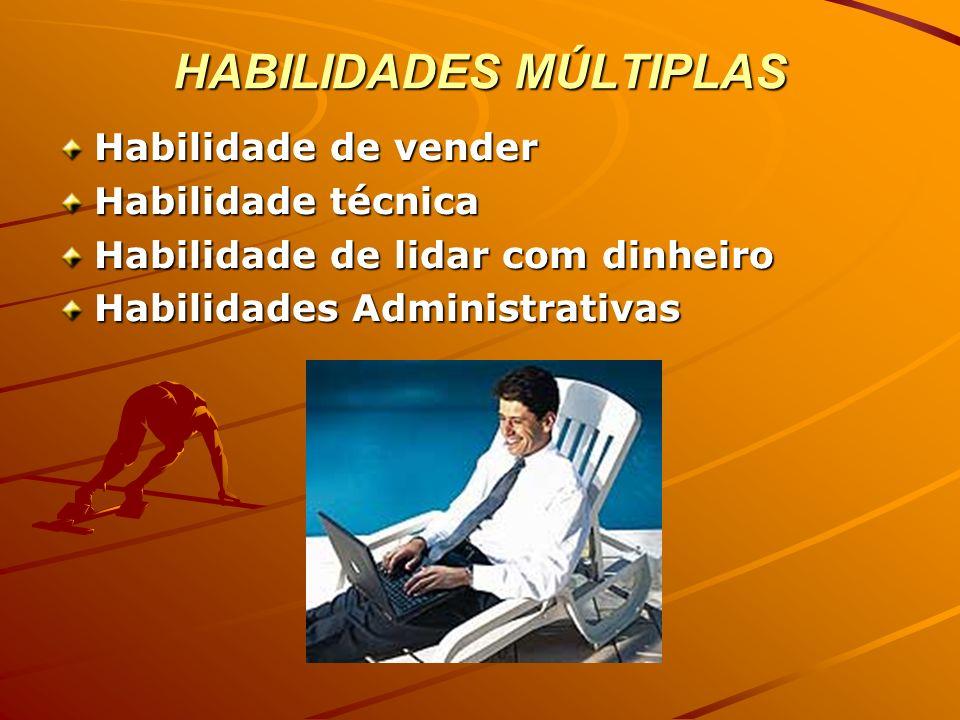 HABILIDADES MÚLTIPLAS Habilidade de vender Habilidade técnica Habilidade de lidar com dinheiro Habilidades Administrativas