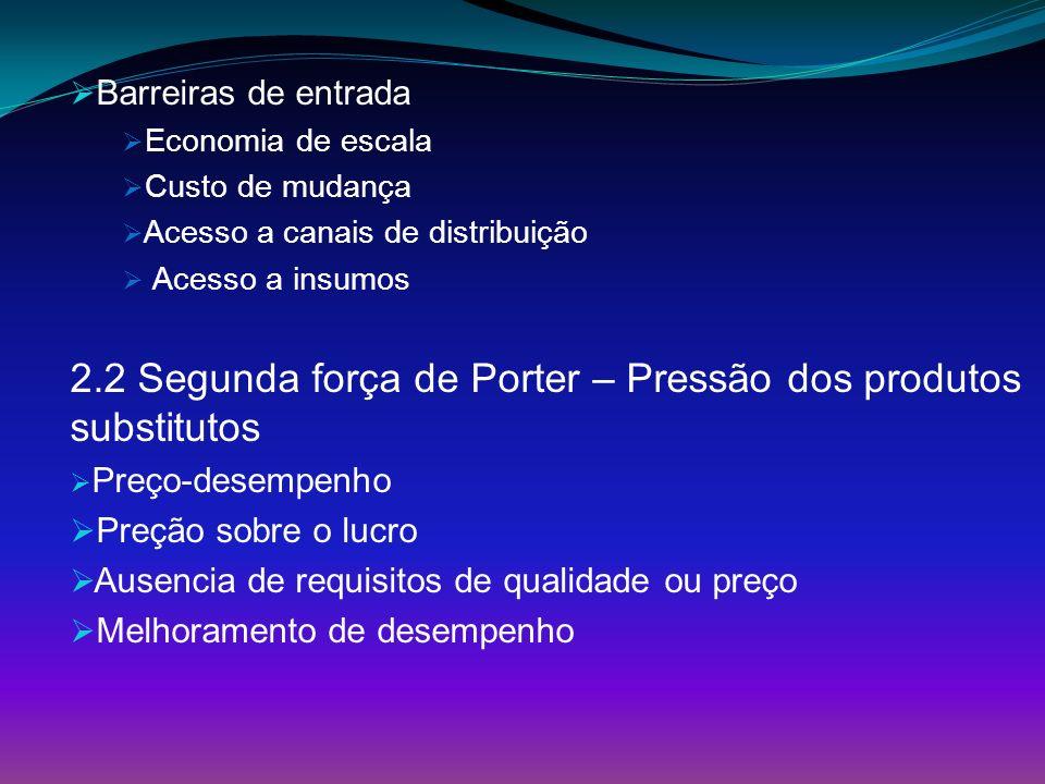 Barreiras de entrada Economia de escala Custo de mudança Acesso a canais de distribuição Acesso a insumos 2.2 Segunda força de Porter – Pressão dos pr