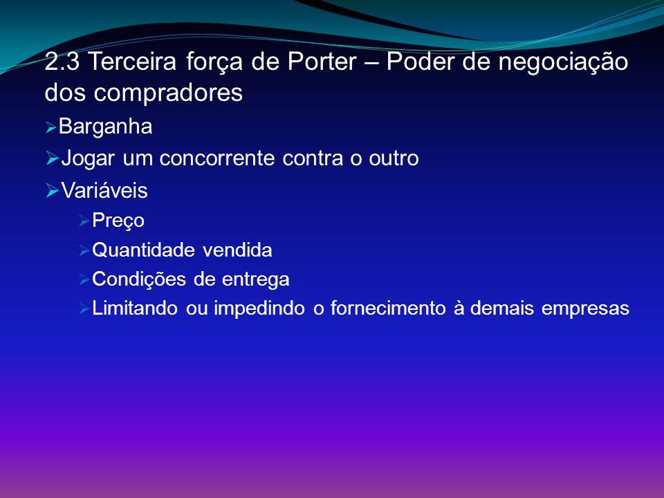 2.3 Terceira força de Porter – Poder de negociação dos compradores Barganha Jogar um concorrente contra o outro Variáveis Preço Quantidade vendida Con