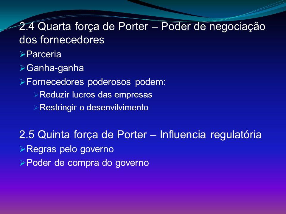 2.4 Quarta força de Porter – Poder de negociação dos fornecedores Parceria Ganha-ganha Fornecedores poderosos podem: Reduzir lucros das empresas Restr