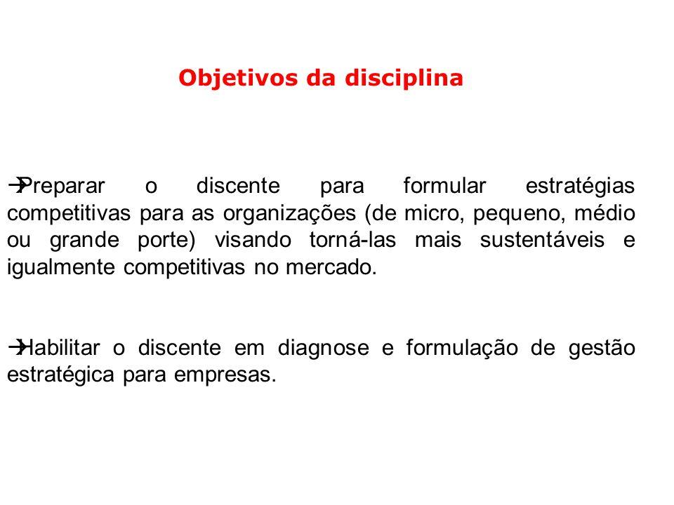 Ementa da disciplina Estratégia.Planejamento estratégico.