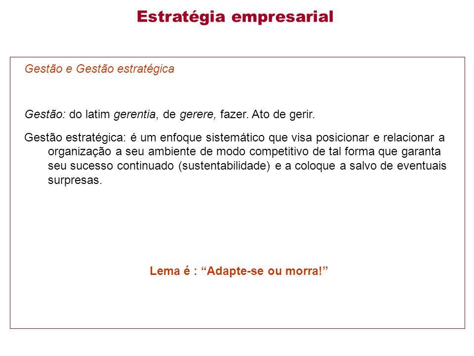 Gestão e Gestão estratégica Gestão: do latim gerentia, de gerere, fazer.
