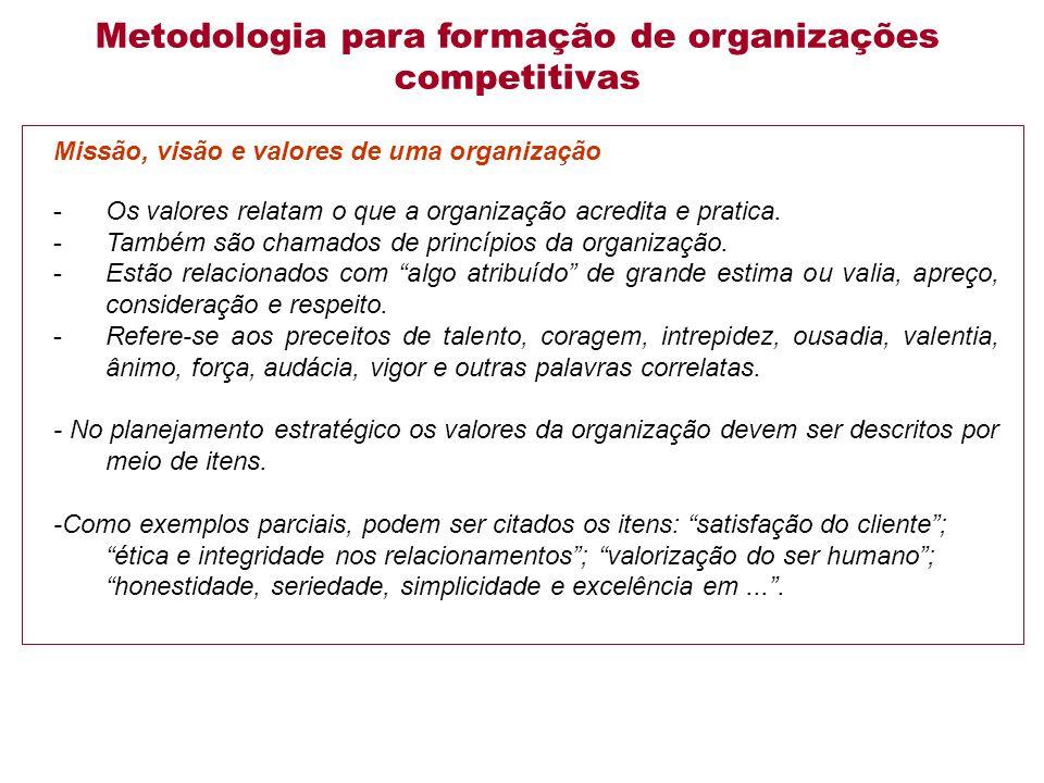 Missão, visão e valores de uma organização -Os valores relatam o que a organização acredita e pratica.