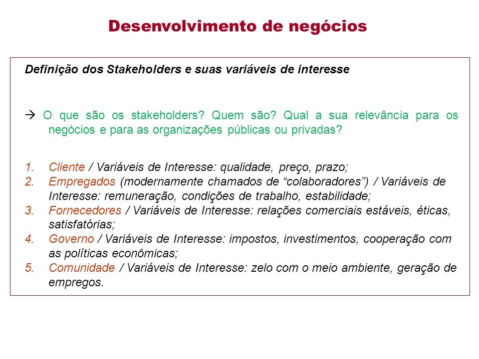 Definição dos Stakeholders e suas variáveis de interesse O que são os stakeholders.