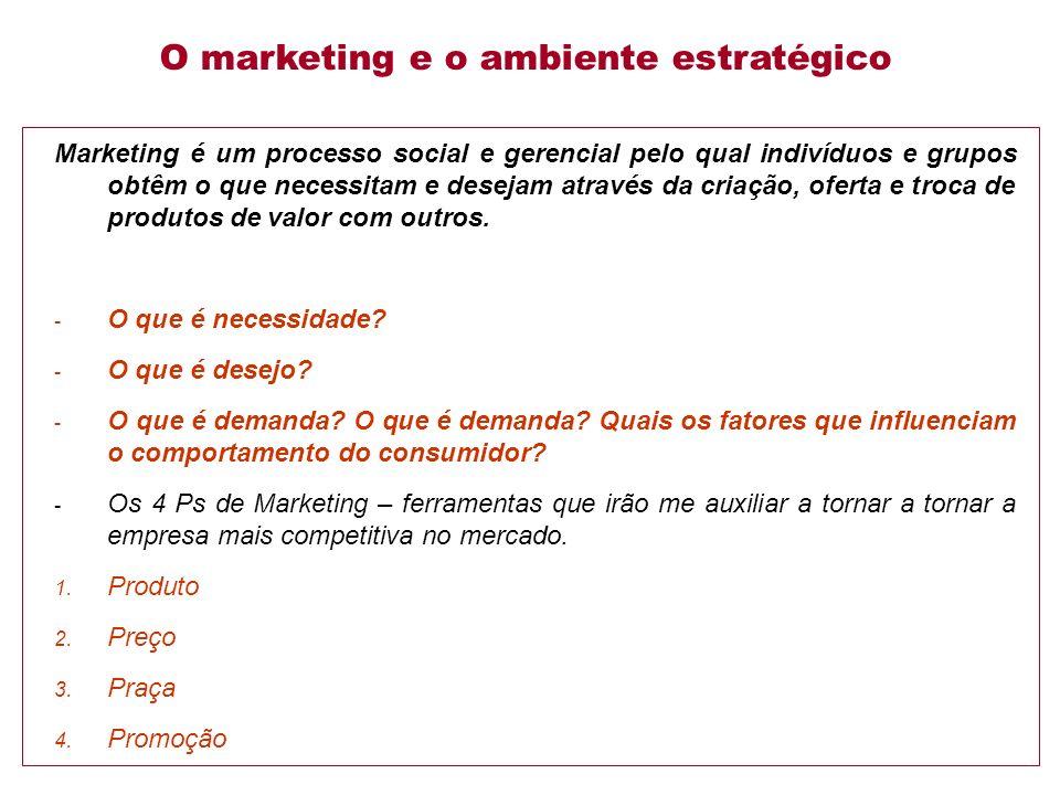 Marketing é um processo social e gerencial pelo qual indivíduos e grupos obtêm o que necessitam e desejam através da criação, oferta e troca de produtos de valor com outros.