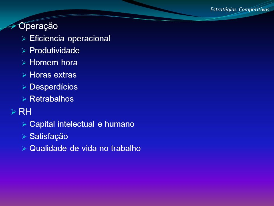 Operação Eficiencia operacional Produtividade Homem hora Horas extras Desperdícios Retrabalhos RH Capital intelectual e humano Satisfação Qualidade de vida no trabalho Estratégias Competitivas