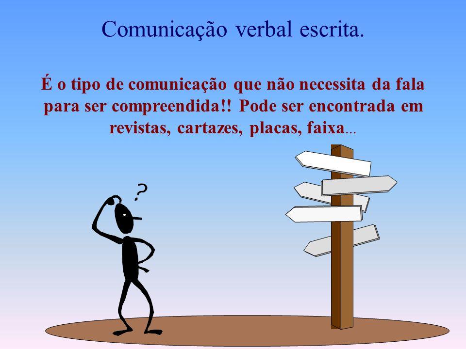Comunicação Oral....não esqueça da reunião de amanhã......não se preocupe, tudo vai dar certo... Canal Verbal EmissorReceptor Mensagem As comunicações