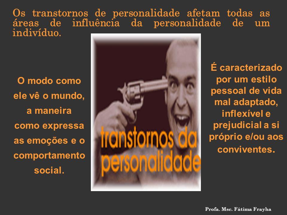 Os transtornos de personalidade afetam todas as áreas de influência da personalidade de um indivíduo. O modo como ele vê o mundo, a maneira como expre
