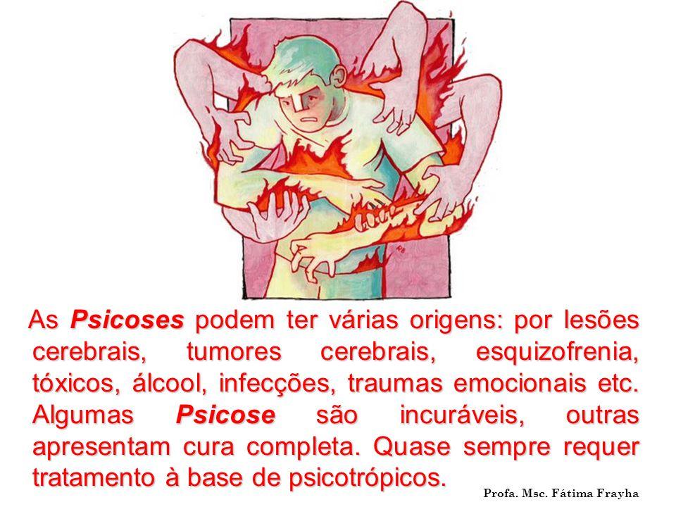 As Psicoses podem ter várias origens: por lesões cerebrais, tumores cerebrais, esquizofrenia, tóxicos, álcool, infecções, traumas emocionais etc. Algu