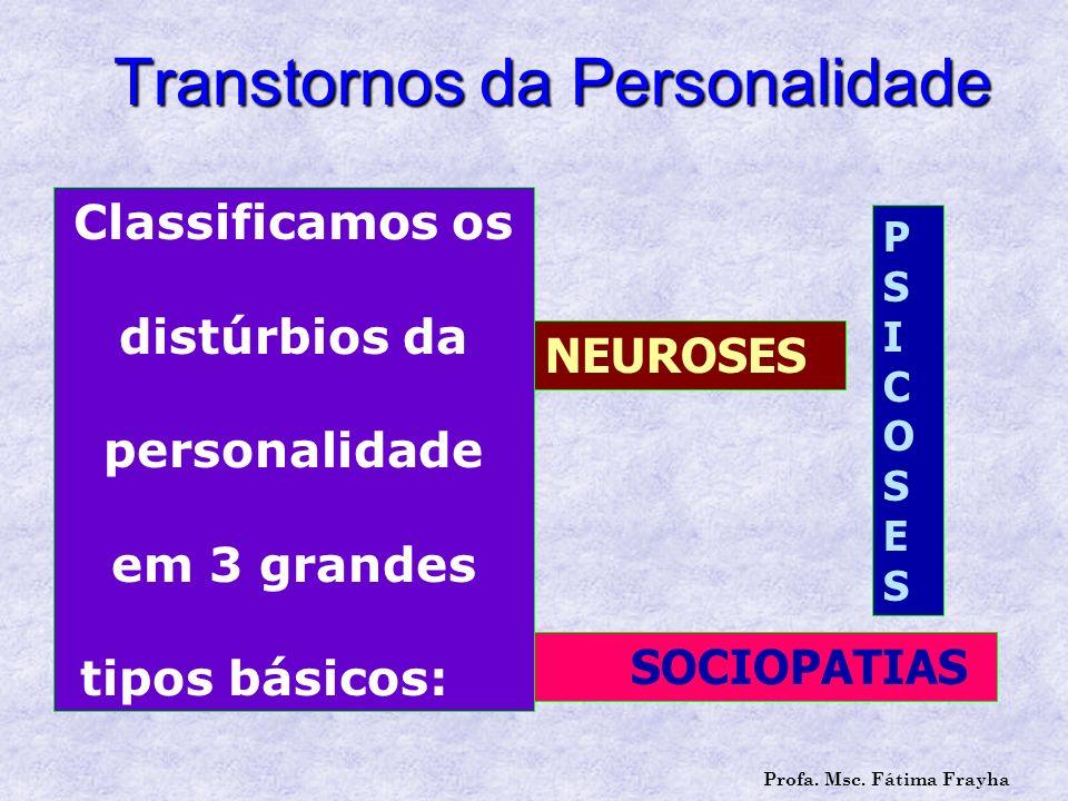 Transtornos da Personalidade Classificamos os distúrbios da personalidade em 3 grandes tipos básicos: NEUROSES PSICOSESPSICOSES SOCIOPATIAS Profa. Msc