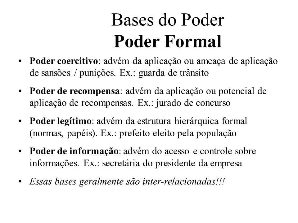 Bases do Poder Poder Formal Poder coercitivo: advém da aplicação ou ameaça de aplicação de sansões / punições. Ex.: guarda de trânsito Poder de recomp