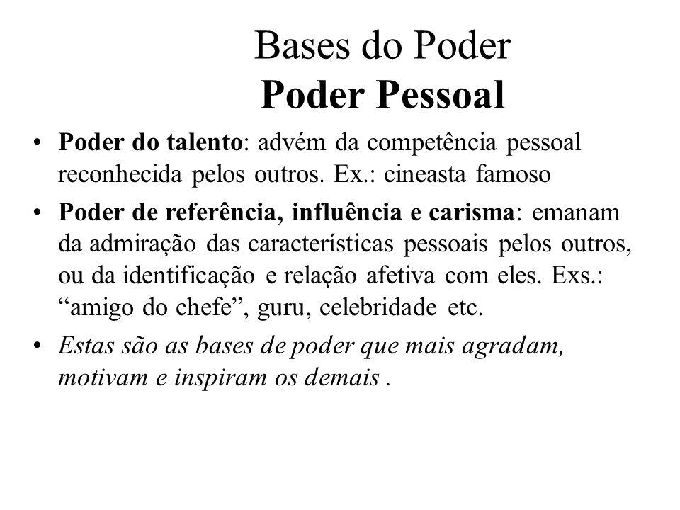 Bases do Poder Poder Pessoal Poder do talento: advém da competência pessoal reconhecida pelos outros. Ex.: cineasta famoso Poder de referência, influê
