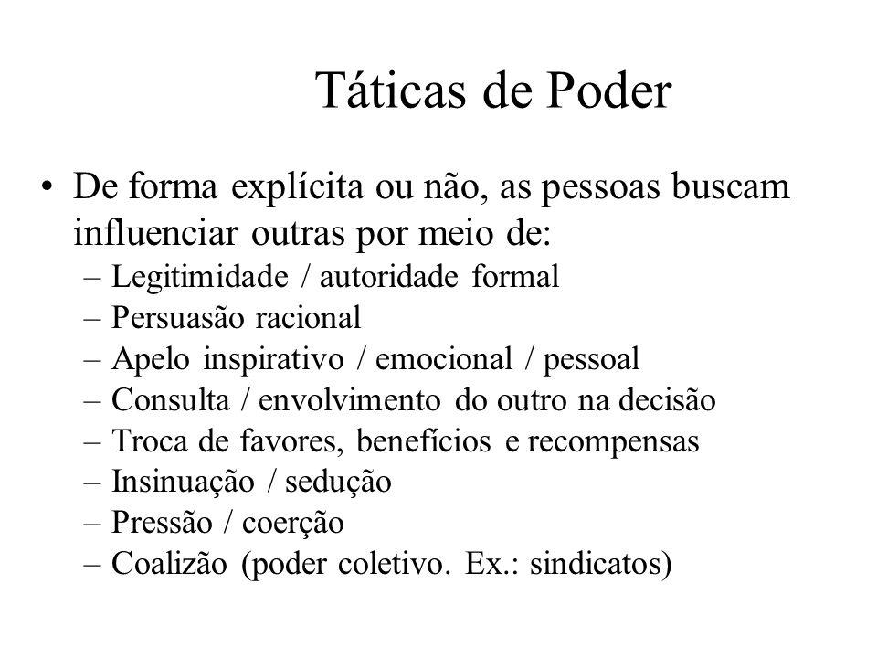 Táticas de Poder De forma explícita ou não, as pessoas buscam influenciar outras por meio de: –Legitimidade / autoridade formal –Persuasão racional –A