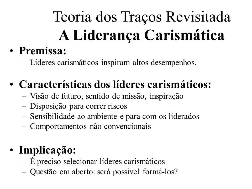 Teoria dos Traços Revisitada A Liderança Carismática Premissa: –Líderes carismáticos inspiram altos desempenhos. Características dos líderes carismáti