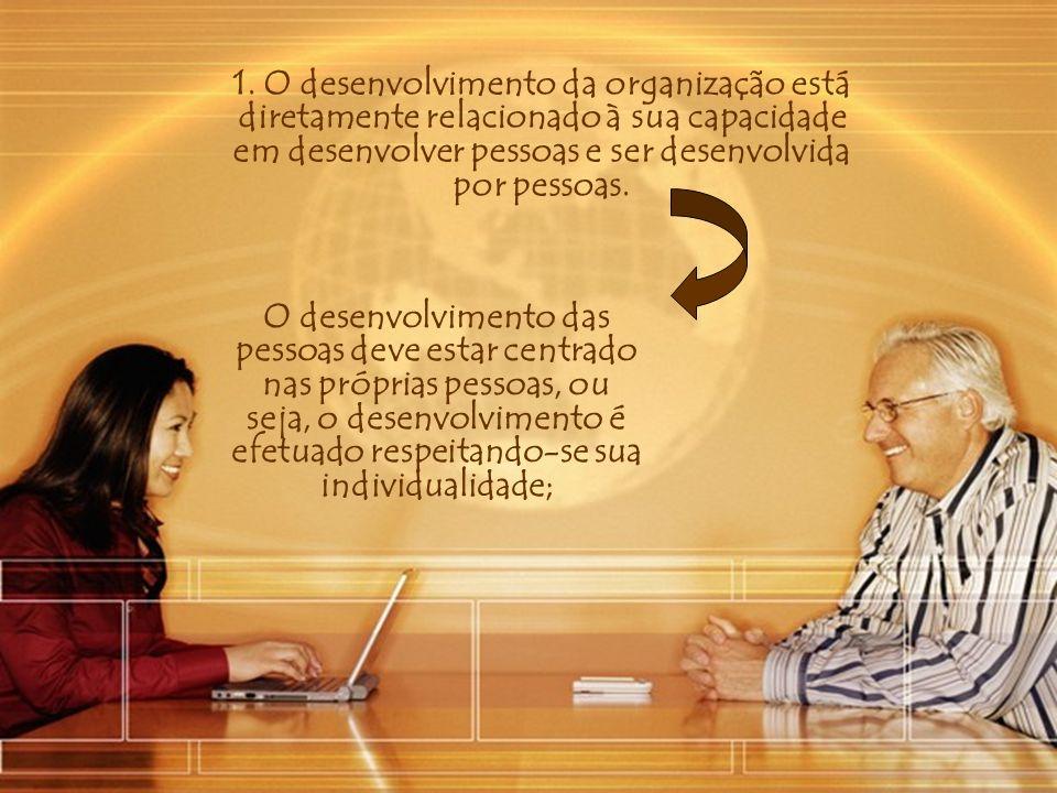 1. O desenvolvimento da organização está diretamente relacionado à sua capacidade em desenvolver pessoas e ser desenvolvida por pessoas. O desenvolvim