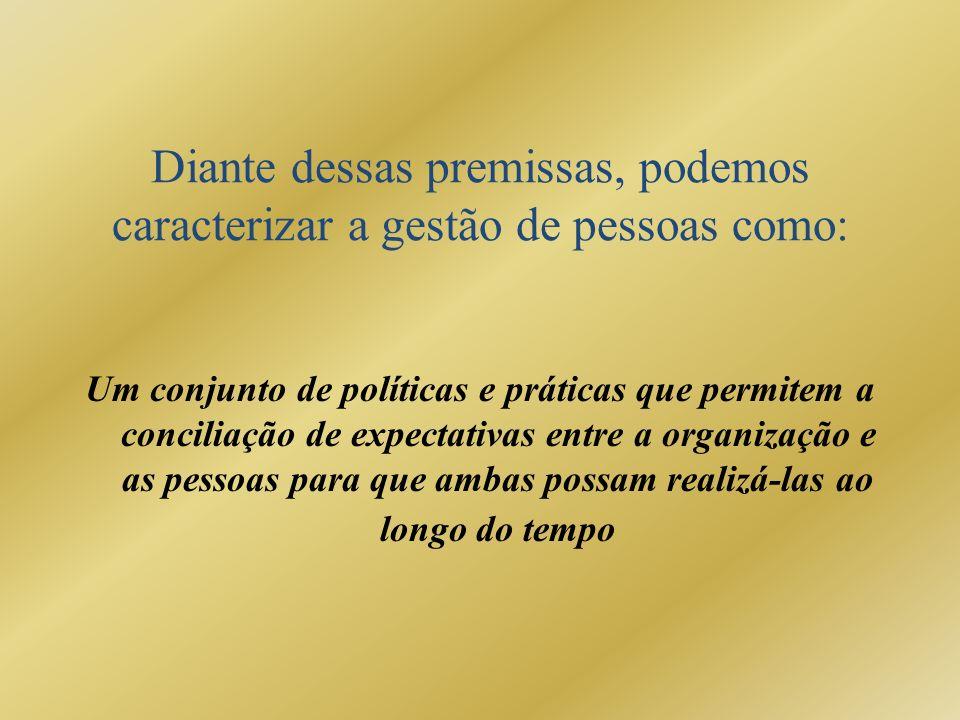 Diante dessas premissas, podemos caracterizar a gestão de pessoas como: Um conjunto de políticas e práticas que permitem a conciliação de expectativas