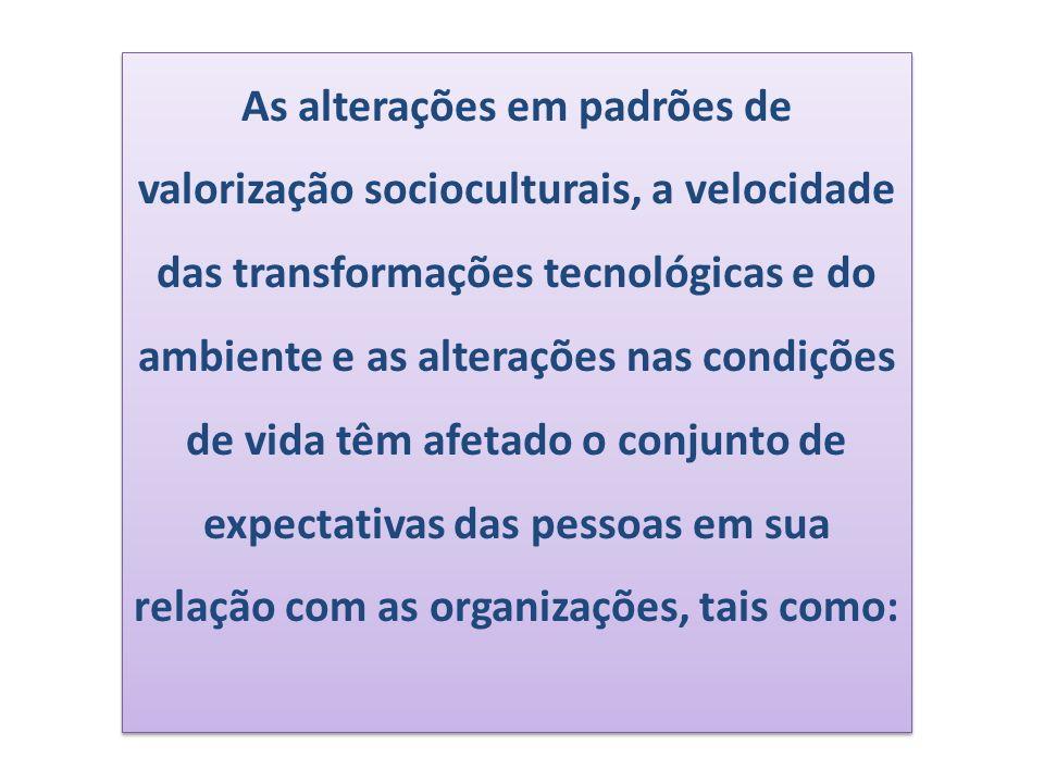 As alterações em padrões de valorização socioculturais, a velocidade das transformações tecnológicas e do ambiente e as alterações nas condições de vi