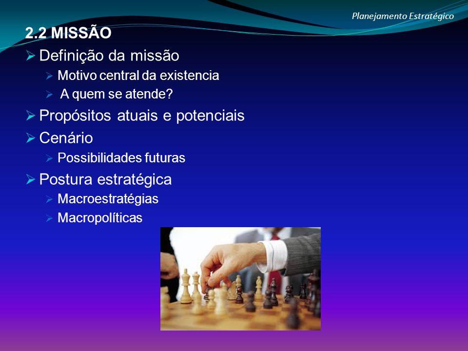 Planejamento Estratégico 2.2 MISSÃO Definição da missão Motivo central da existencia A quem se atende? Propósitos atuais e potenciais Cenário Possibil