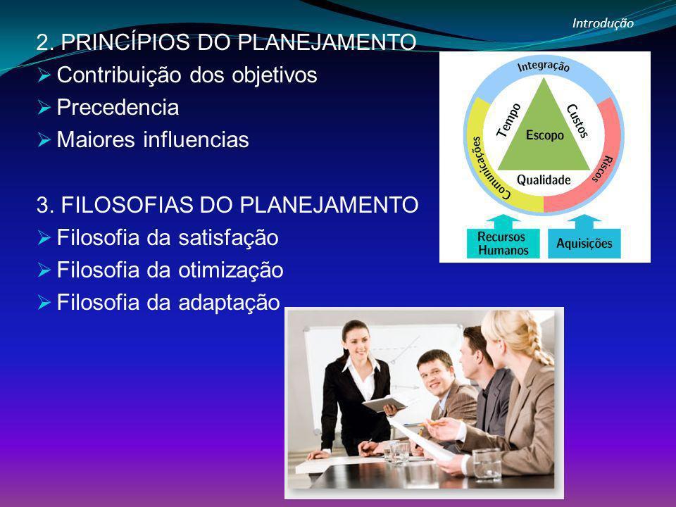 Introdução 2. PRINCÍPIOS DO PLANEJAMENTO Contribuição dos objetivos Precedencia Maiores influencias 3. FILOSOFIAS DO PLANEJAMENTO Filosofia da satisfa