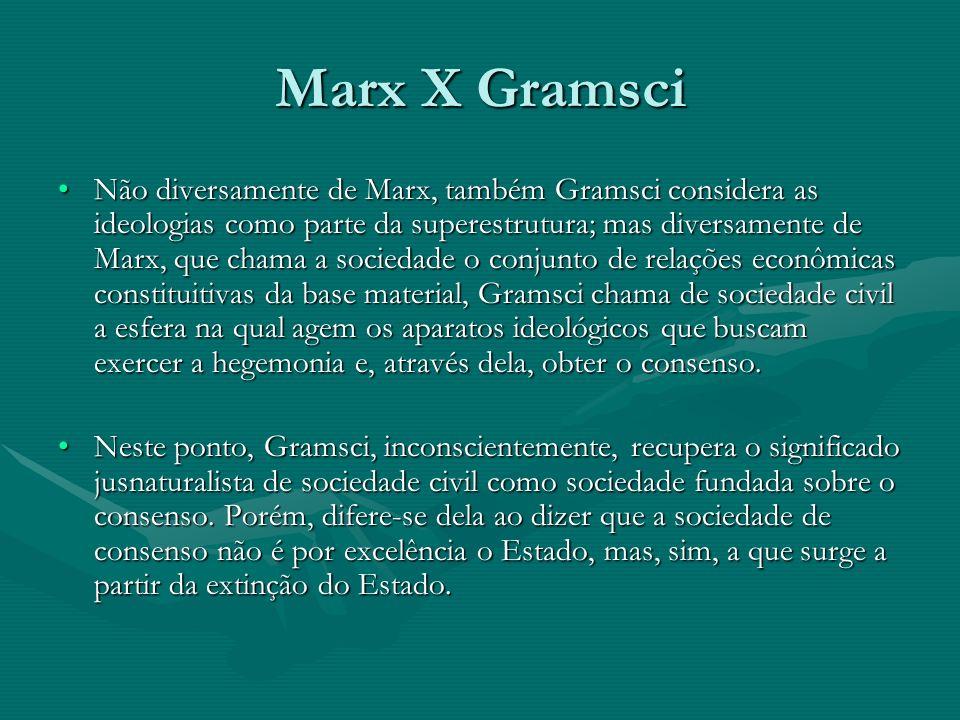 Marx X Gramsci Não diversamente de Marx, também Gramsci considera as ideologias como parte da superestrutura; mas diversamente de Marx, que chama a so