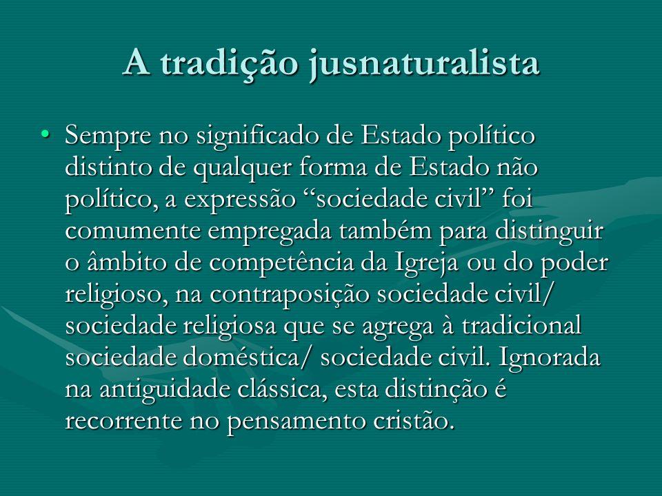 A tradição jusnaturalista Sempre no significado de Estado político distinto de qualquer forma de Estado não político, a expressão sociedade civil foi