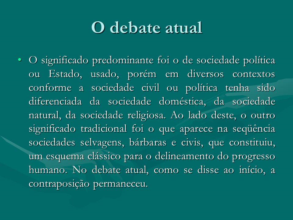 O debate atual O significado predominante foi o de sociedade política ou Estado, usado, porém em diversos contextos conforme a sociedade civil ou polí
