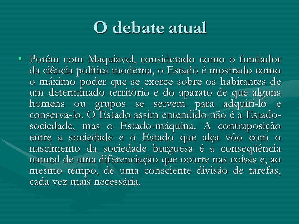 O debate atual Porém com Maquiavel, considerado como o fundador da ciência política moderna, o Estado é mostrado como o máximo poder que se exerce sob