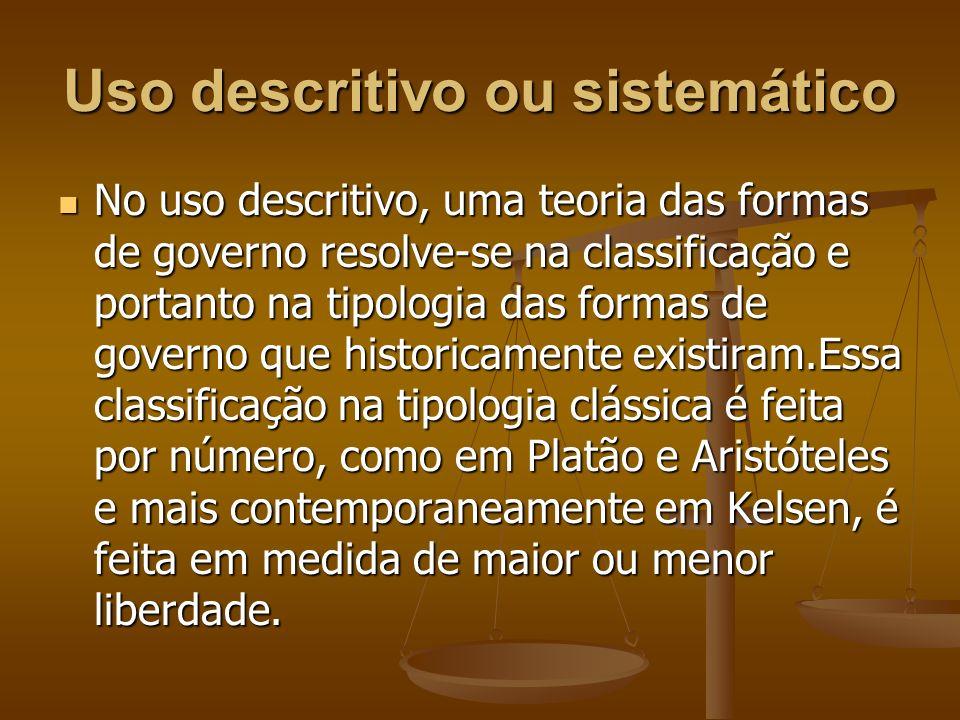 Uso descritivo ou sistemático No uso descritivo, uma teoria das formas de governo resolve-se na classificação e portanto na tipologia das formas de go