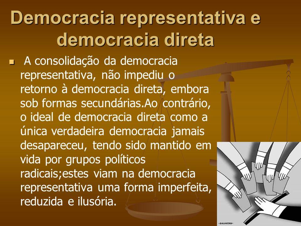 Democracia representativa e democracia direta A consolidação da democracia representativa, não impediu o retorno à democracia direta, embora sob forma