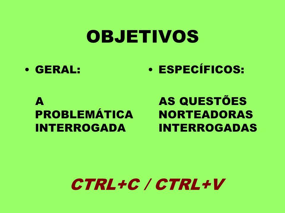 OBJETIVOS GERAL: A PROBLEMÁTICA INTERROGADA ESPECÍFICOS: AS QUESTÕES NORTEADORAS INTERROGADAS CTRL+C / CTRL+V