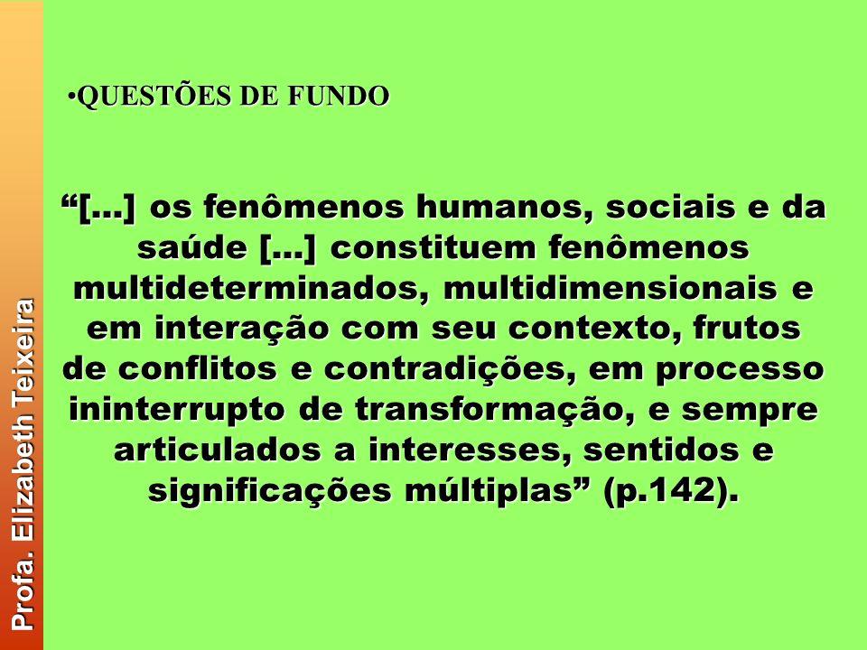 QUESTÕES DE FUNDOQUESTÕES DE FUNDO Profa. Elizabeth Teixeira Profa. Elizabeth Teixeira [...] os fenômenos humanos, sociais e da saúde [...] constituem