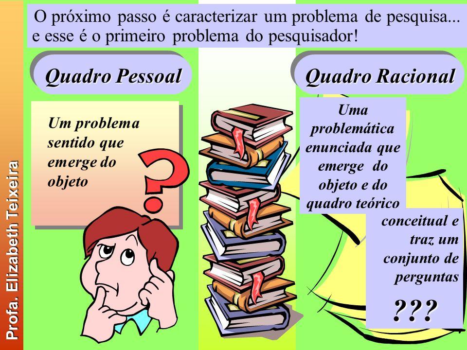 O próximo passo é caracterizar um problema de pesquisa... e esse é o primeiro problema do pesquisador! Um problema sentido que emerge do objeto Uma pr