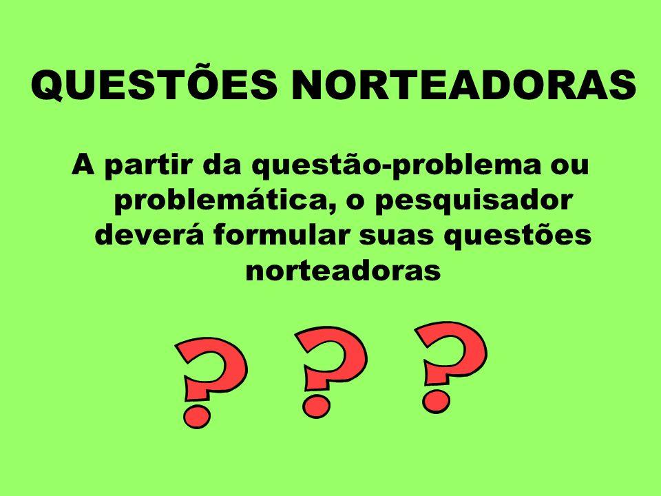 QUESTÕES NORTEADORAS A partir da questão-problema ou problemática, o pesquisador deverá formular suas questões norteadoras