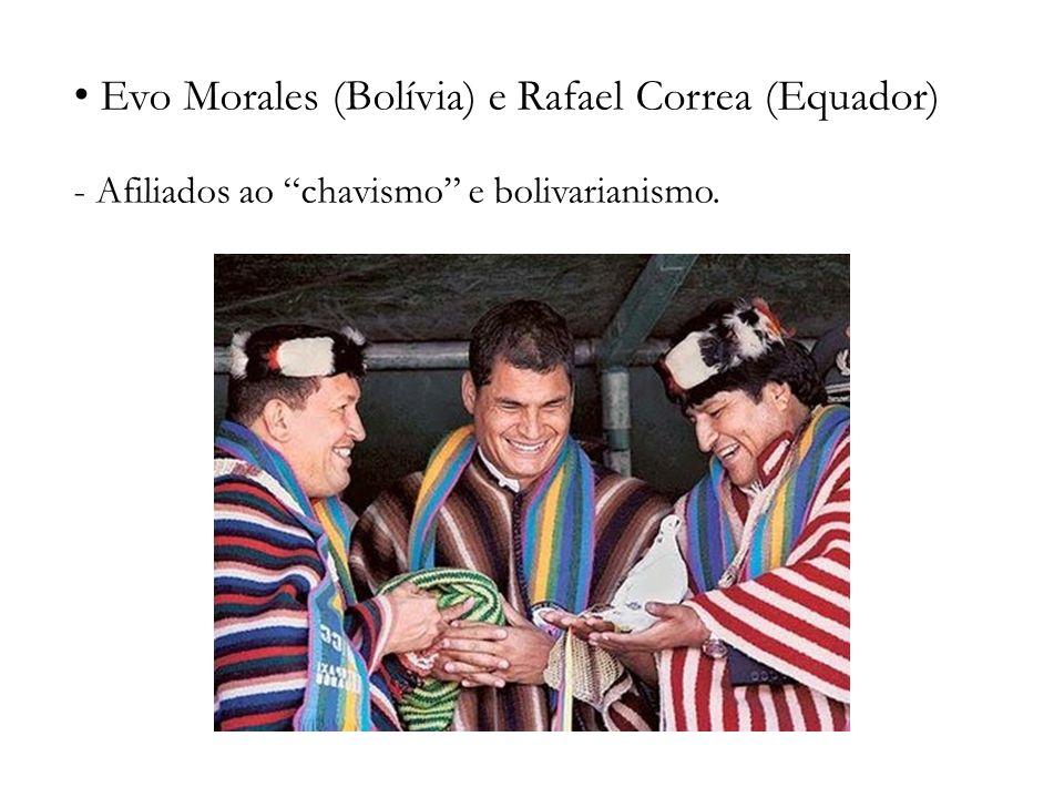 Evo Morales (Bolívia) e Rafael Correa (Equador) - Afiliados ao chavismo e bolivarianismo.