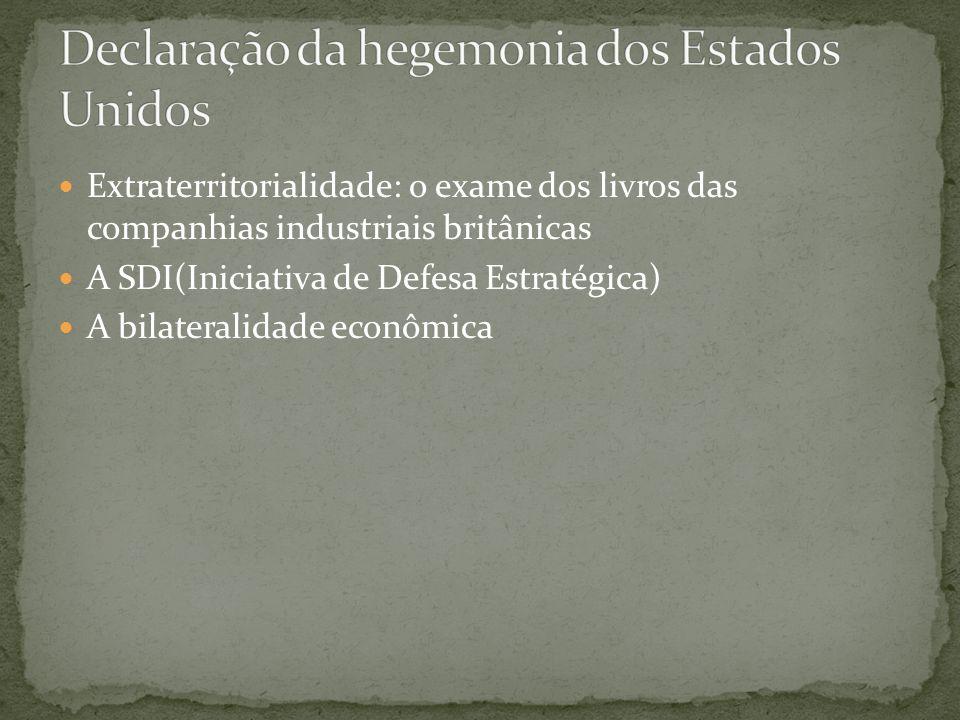 Extraterritorialidade: o exame dos livros das companhias industriais britânicas A SDI(Iniciativa de Defesa Estratégica) A bilateralidade econômica