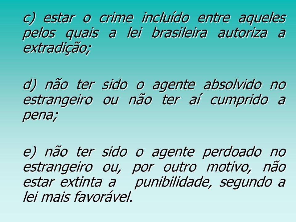 c) estar o crime incluído entre aqueles pelos quais a lei brasileira autoriza a extradição; c) estar o crime incluído entre aqueles pelos quais a lei