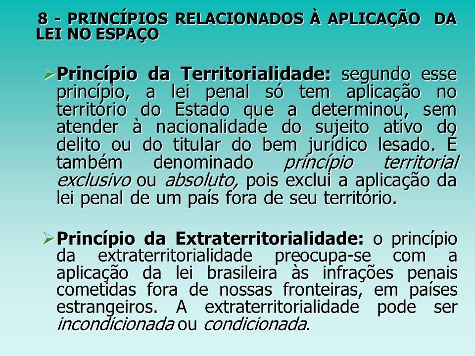 8 - PRINCÍPIOS RELACIONADOS À APLICAÇÃO DA LEI NO ESPAÇO 8 - PRINCÍPIOS RELACIONADOS À APLICAÇÃO DA LEI NO ESPAÇO Princípio da Territorialidade: segun