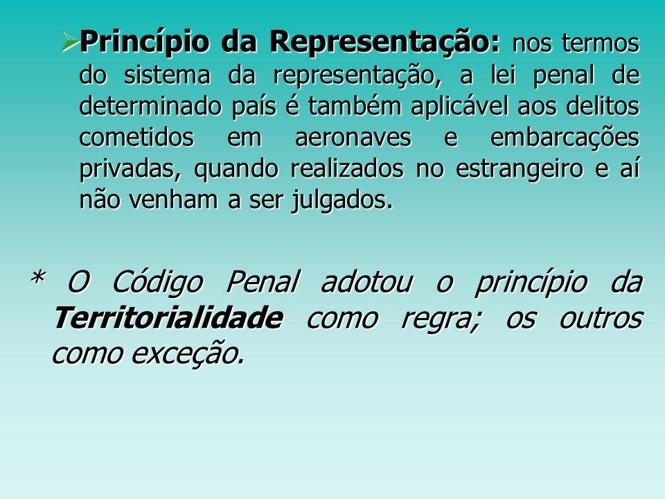 Princípio da Representação: nos termos do sistema da representação, a lei penal de determinado país é também aplicável aos delitos cometidos em aerona
