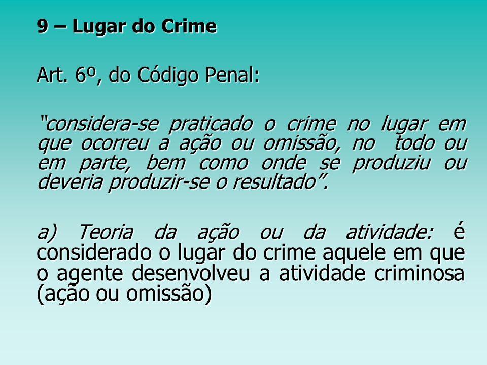 9 – Lugar do Crime Art. 6º, do Código Penal: Art. 6º, do Código Penal: considera-se praticado o crime no lugar em que ocorreu a ação ou omissão, no to