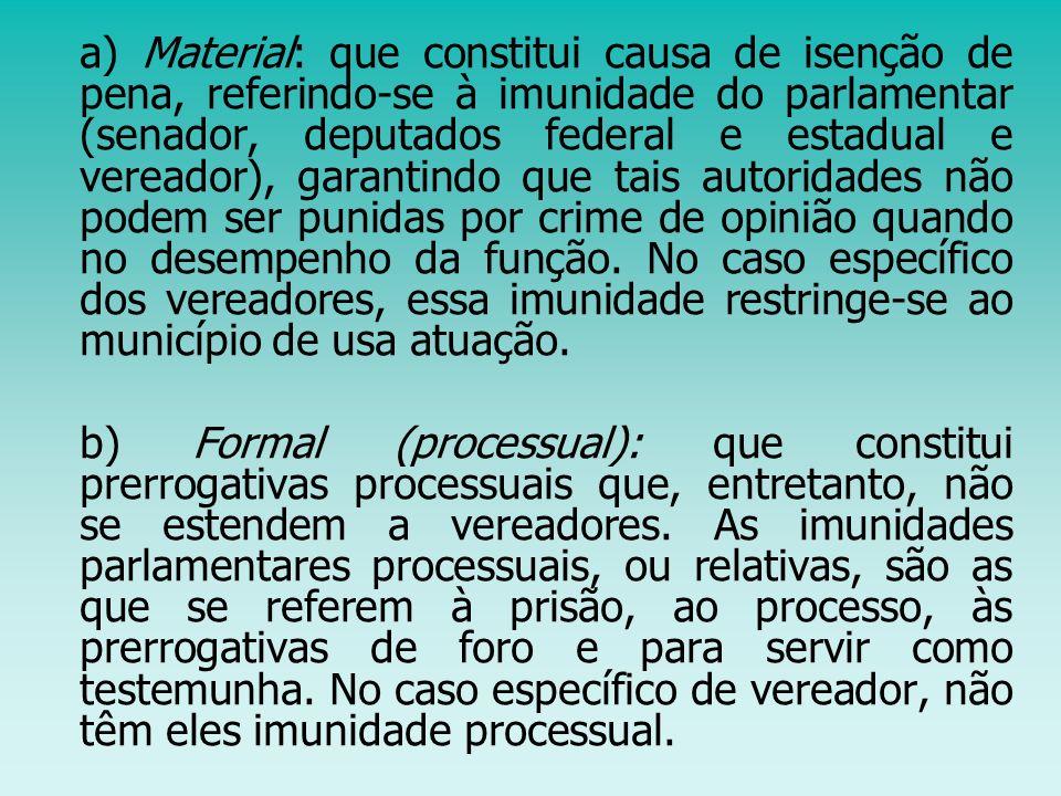 a) Material: que constitui causa de isenção de pena, referindo-se à imunidade do parlamentar (senador, deputados federal e estadual e vereador), garan